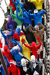 "© licensed to London News Pictures. Tamworth/Staffordshire, UK  07/05/2011. Morphsuit challenge to break the Guiness World Record at Drayton Manor Park, Tamworth, Staffs.Pictured, Morphs take a ride on the ""Pirate Boat"" ride.  Please see special instructions for usage rates. Photo credit should read Dave Warren/LNP"