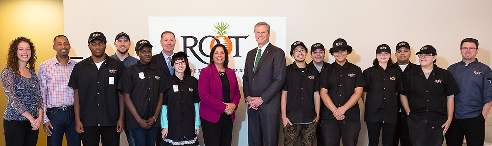 Massachusetts Governor Charlie Baker, Salem Mayor Kim Driscoll, and State Rep Paul Tucker visit Root North Shore on October 26, 2017.<br /> <br /> Root aims to provide at-risk youth a pathway out of the entrenched cycle of poverty through life and work readiness skills, case management, health and nutritional education and the social capital to ensure that all students leave Root prepared for success in the workplace.<br /> <br /> CREDIT:  Alyse Gause Photography