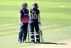 Heather Knight of England Women smiles with Sarah Taylor of England Women as they bat together against Sri Lanka Women - Mandatory by-line: Robbie Stephenson/JMP - 02/07/2017 - CRICKET - County Ground - Taunton, United Kingdom - England Women v Sri Lanka Women - ICC Women's World Cup Group Stage