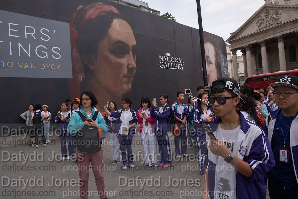 Chinese tourists, Trafalgar Sq. London, 21 July 2016