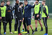 Forest Green Rovers goalkeeper coach Pat Mountain gives out instructions at Stanley Park, Chippenham, United Kingdom on 14 January 2019.