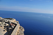 Greece, Rhodes, Lindos Acropolis bay of Lindos as seen from the Acropolis