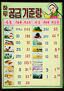 Calories billboard in a canteen school, Pyongyang, North Korea.<br /> -What does this billboard in the canteen mean?<br /> -It is a Calorie summary table Mr Eric.<br /> -Is it in Chonjin that you had a major starvation in the &lsquo;90s?<br /> -Yes, but now, who can say that the North Korean government does not take care of its citizens health? With this information, we avoid having fat kids like in America!