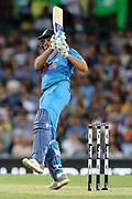 Rohit Sharma pulls for six. T20 international, Australia v India. Sydney Cricket Ground, NSW, Australia, 25 November 2018. Copyright Image: David Neilson / www.photosport.nz