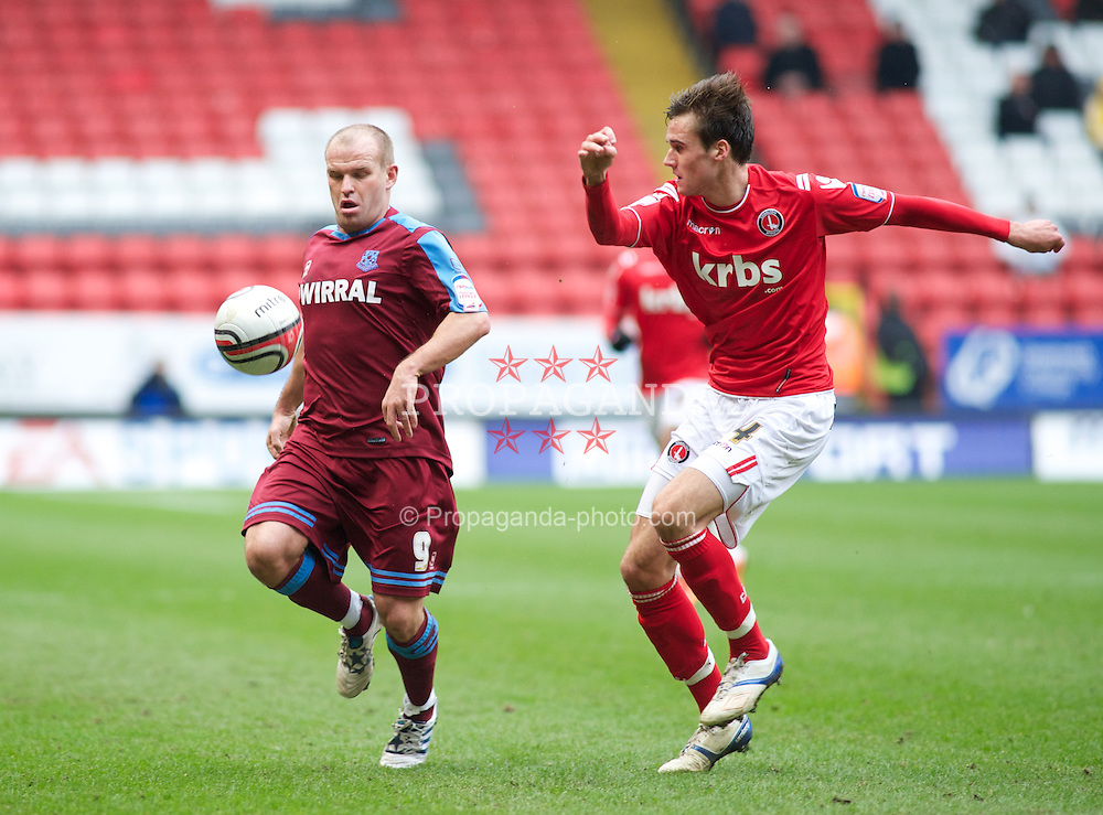 LONDON, ENGLAND - Saturday, March 5, 2011: Tranmere Rovers' Andy Robinson and Charlton Athletic's Carl Jenkinson during the Football League One match at The Valley. (Photo by Gareth Davies/Propaganda)