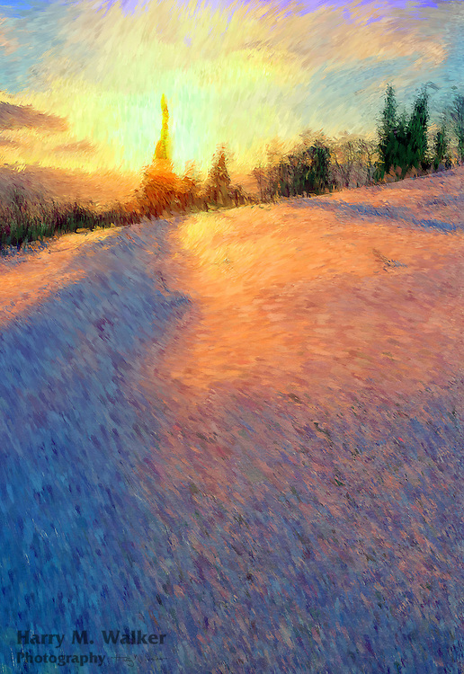PhotoImpressionism; sunset in winter along East End Road in Homer Alaska