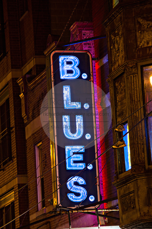 Neon sign at B.L.U.E.S club in Chicago USA