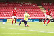 Crewe Alexandra forward Chuma Anene has a shot at goal during the EFL Sky Bet League 2 match between Crewe Alexandra and Exeter City at Alexandra Stadium, Crewe, England on 5 October 2019.