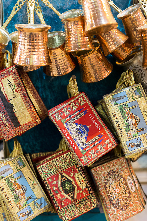 Copper coffee pots embroidered boxes in The Grand Bazaar, Kapalicarsi, great market, Beyazi, Istanbul,Turkey