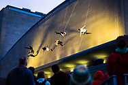 BANDALOOP performs on the exterior of the Memorial Union during the Madison World Music Festival on September 12, 2014.