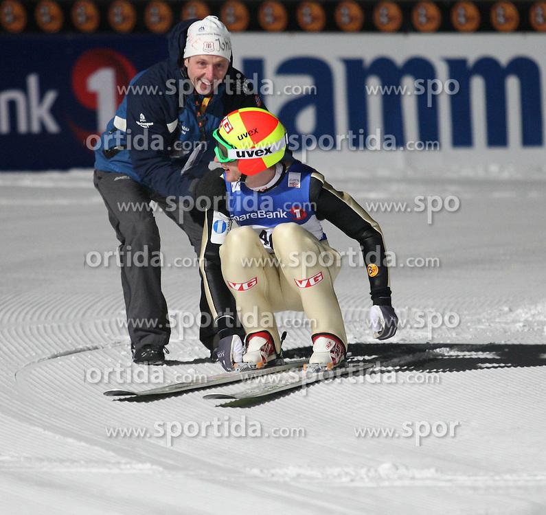 11.02.2011, Vikersundbakken, Vikersund, NOR, FIS Ski Skiflying World Cup, Vikersund, Qualification, im Bild Jubel bei Johan Remen Evensen nach seinem Weltrekordflug auf 246,5 Meter // Johan Remen Evensen celebrate in after his world record flight to 246.5 meters, EXPA/ Newspix/ TADEUSZ MIECZYNSKI +++++ ATTENTION - FOR AUSTRIA/ AUT, SLOVENIA/ SLO, SERBIA/ SRB an CROATIA/ CRO, SWISS/ SUI and SWEDEN/ SWE CLIENT ONLY +++++