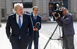 © Licensed to London News Pictures. 16/07/2016. London, UK. Foreign Secretary Boris Johnson talks to reporters at the Foreign and Commonwealth Office after a coup was attempted overnight in Turkey. Photo credit: Ben Cawthra/LNP
