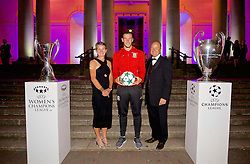 CARDIFF, WALES - Wednesday, August 31, 2016: Laura McAllister, Wales' Gareth Bale and FAW Chief-Executive Jonathan Ford with the European Cup trophies during a gala dinner at the Cardiff Museum to launch the UEFA Champions League Finals 2017 to be held in Cardiff. (Pic by David Rawcliffe/Propaganda)