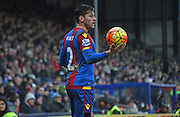Joel Ward looks for options during the Barclays Premier League match between Crystal Palace and Watford at Selhurst Park, London, England on 13 February 2016. Photo by Michael Hulf.