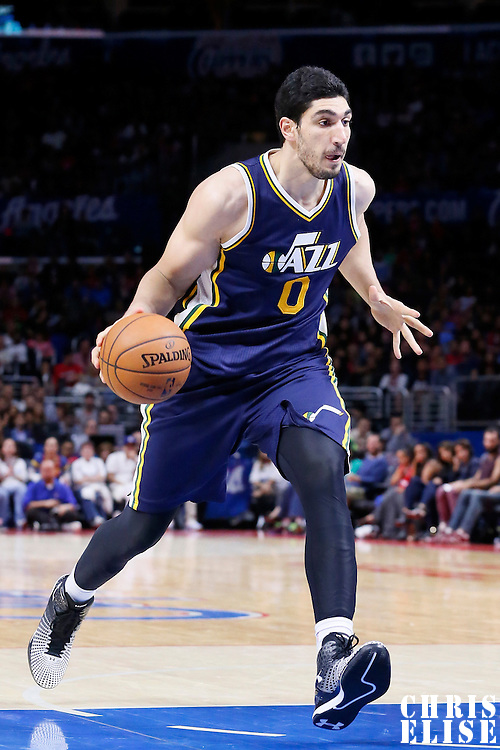 17 October 2014: Utah Jazz center Enes Kanter (0) dribbles during the Los Angeles Clippers 101-97 victory over the Utah Jazz, in a preseason game, at the Staples Center, Los Angeles, California, USA.