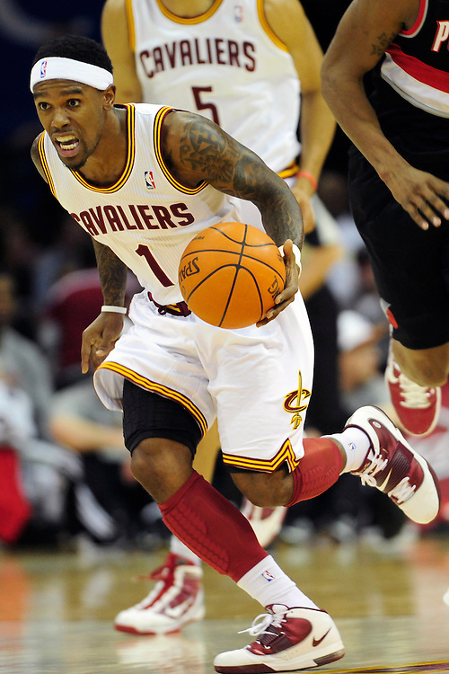 Feb. 5, 2011; Cleveland, OH, USA; Cleveland Cavaliers point guard Daniel Gibson (1) drives down court during the first quarter against the Portland Trail Blazers at Quicken Loans Arena. Mandatory Credit: Jason Miller-US PRESSWIRE