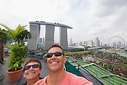 Singapore. Marina Bay Sands Hotel. Gardens by the Bay, View from Supertree Dining. Heimo Aga and Nicole Schmidt.