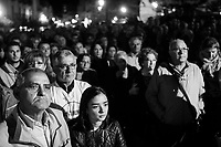 MILAZZO, ITALY - 27 OCTOBER 2017: Supporters of the Five Star Movement (Italian: Movimento 5 Stelle, or M5S) listen to a speech of M5S candidate Giancarlo Cancelleri, running for governor of Sicily in the upcoming Sicilan regional election, during a rally here in Milazzo, Italy, on October 27th 2017.<br /> <br /> The Sicilian regional election for the renewal of the Sicilian Regional Assembly and the election of the President of Sicily will be held on 5th November 2017.