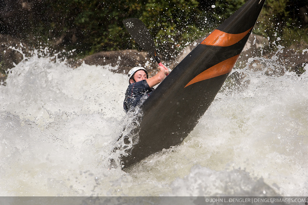 An unidentified whitewater kayaker powers their kayak through the rapids at Pillow Rock on the Gauley River during American Whitewater's Gauley Fest weekend. The upper Gauley, located in the Gauley River National Recreation Area is considered one of premier whitewater rivers in the country.