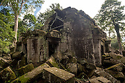 A part of the Ta Prohm temple complex, under repairs.