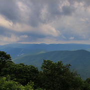 """""""Clouds Upon the Blue Ridge""""<br /> <br /> Beautiful storm clouds and mountain layers of the Blue Ridge Mountains of Virginia during summertime!"""