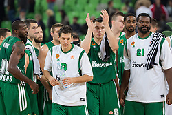 Players of Panathinaikos and KK Union Olimpija after basketball match between KK Union Olimpija and Panathinaikos Athens (GRE) in 3rd Round of Regular season of Euroleague 2012/13 on October 26, 2012 in Arena Stozice, Ljubljana, Slovenia. Panathinaikos defeated Union Olimpija 85:67. (Photo By Matic Klansek Velej / Sportida)