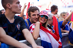 Supporters of Croatia national team cheering on Ban Jelacic Square during Final match of WorldCup 2018 between France and Croatia, on July 15, 2018 in Zagreb, Croatia. Photo by Urban Urbanc / Sportida