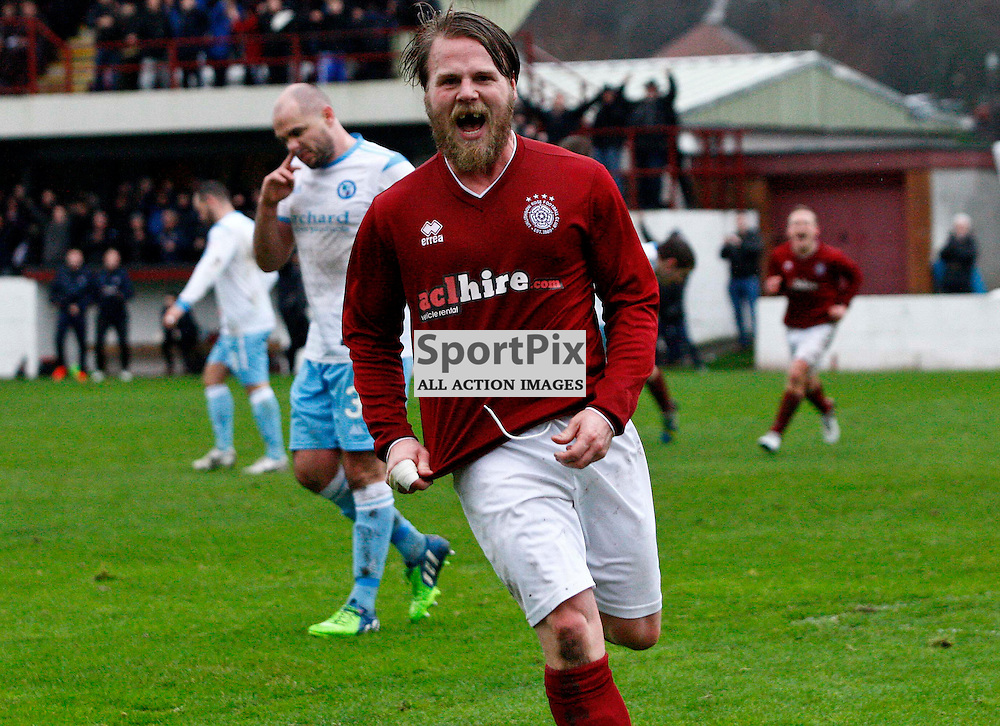 Graham Weir celebrates after his goal pulls 10 man Linlithgow level at 3-3 after being 3-1 behind and down to 10 men<br /> During the William Hill Scottish Cup match at Prestonfield Linlithgow