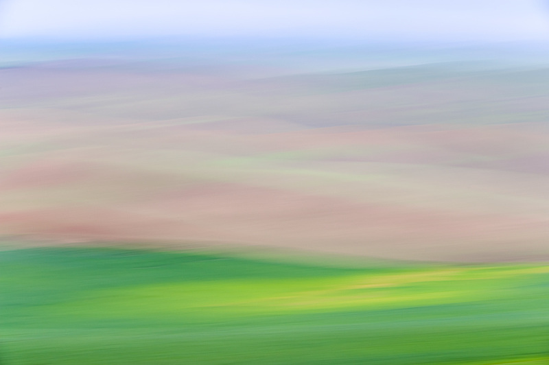 Impressionistic view of the rolling hills in the Palouse region of Eastern Washington State