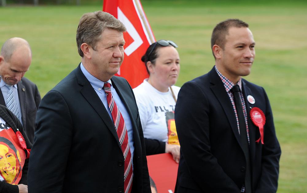 Labour Leader David Cunnliffe, left, with Rotorua candidate Tamiti Coffey receive a powhiri on a visit to the Rotorua Primary School, Rotorua, New Zealand, Monday, August 26, 2014. Credit SNPA / Ross Setford