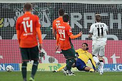 19.11.2011, BorussiaPark, Mönchengladbach, GER, 1.FBL, Borussia Mönchengladbach vs SV Werder Bremen, im BildMarco Reuss (Mönchengladbach #11) (R) trifft zum 4:0 gegen Tim Wiese (Torwart Bremen) Aaron Hunt (Bremen #14) Philipp Bargfrede (Bremen #44) Sebastian Prödl/ Proedl (Bremen #15) schauen zu Tim Wiese (Bremen #1) am Boden // during the 1.FBL, Borussia Mönchengladbach vs Werder Bremen on 2011/11/19, BorussiaPark, Mönchengladbach, Germany. EXPA Pictures © 2011, PhotoCredit: EXPA/ nph/ Mueller..***** ATTENTION - OUT OF GER, CRO *****