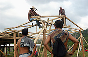 Rebuilding a village house at San Jose Apartado, a village in North West Colombia where there was a massacre by rightwing paramilitaries.