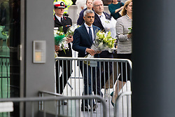 City Hall, London, June 5th 2017.  Mayor of London Sadiq Khan arrives with flowers at a vigil held in remembrance of those killed during the June 3rd terror attack at London Bridge and Borough Market.