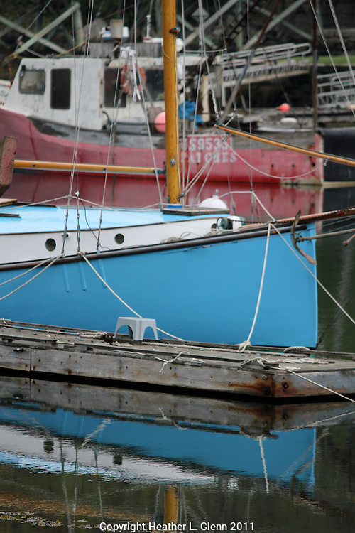 Blue boat in Annisquam Harbor, Massachusetts
