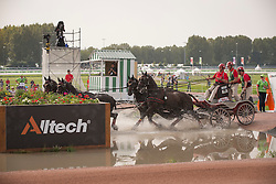 Gerts Schrijvers, (BEL), El Fiero, Giganta A, Onyx, Replay, Victor K - Driving Marathon - Alltech FEI World Equestrian Games™ 2014 - Normandy, France.<br /> © Hippo Foto Team - Dirk Caremans<br /> 06/09/14