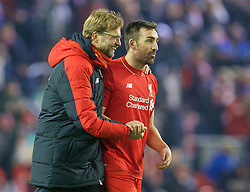 LIVERPOOL, ENGLAND - Wednesday, January 20, 2016: Liverpool's manager Jürgen Klopp shares a laugh with Jose Enrique after the 3-0 victory over Exeter City during the FA Cup 3rd Round Replay match at Anfield. (Pic by David Rawcliffe/Propaganda)
