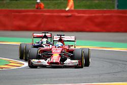22.08.2014, Circuit de Spa, Francorchamps, BEL, FIA, Formel 1, Grand Prix von Belgien, Training, im Bild Fernando Alonso (Scuderia Ferrari) im Hintergrund Jean-Eric Vergne (Scuderia Toro Rosso/Renault)// during the Practice of Belgian Formula One Grand Prix at the Circuit de Spa in Francorchamps, Belgium on 2014/08/22. EXPA Pictures &copy; 2014, PhotoCredit: EXPA/ Eibner-Pressefoto/ Bermel<br /> <br /> *****ATTENTION - OUT of GER*****