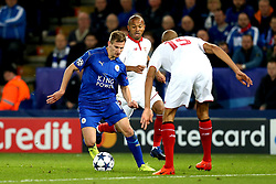 Marc Albrighton of Leicester City takes on Steven N'Zonzi of Sevilla - Mandatory by-line: Robbie Stephenson/JMP - 14/03/2017 - FOOTBALL - King Power Stadium - Leicester, England - Leicester City v Sevilla - UEFA Champions League round of 16, second leg