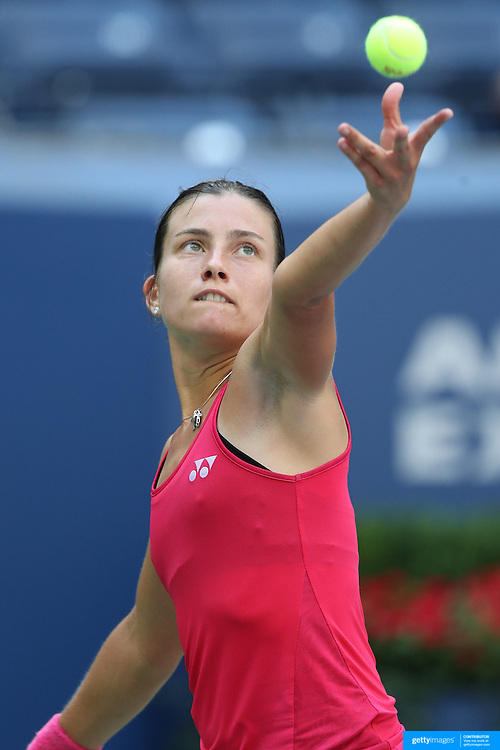 2016 U.S. Open - Day 7  Anastasija Sevastova of Latvia in action against Johanna Konta of Great Britain in the Women's Singles round four match on Arthur Ashe Stadium on day six of the 2016 US Open Tennis Tournament at the USTA Billie Jean King National Tennis Center on September 4, 2016 in Flushing, Queens, New York City.  (Photo by Tim Clayton/Corbis via Getty Images)