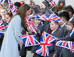 LONDON- UK- 19-JAN-2015- Catherine, (Kate) The Duchess of Cambridge will formally open the Kensington Aldridge Academy. Her Royal Highness will meet governors, staff and students, tour the new building and watch part of a lesson. The Duchess will then watch a dance performance in the school's theatre, and will unveil a plaque, before visiting the school's Creates Hub for young entrepreneurs, and meet students who are designing items for sale at Portobello Road Market. <br /> Photograph by Ian Jones