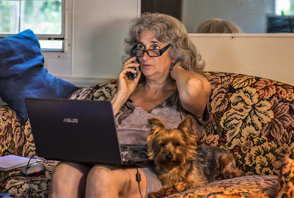 Vera Scroggins, anti fracking activist who gives tours of fracking industry sites in Susquehanna County PA, at home.