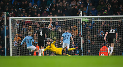 Sergio Aguero of Manchester City (L) scores his sides fifth goal from the penalty spot - Mandatory by-line: Jack Phillips/JMP - 26/01/2019 - FOOTBALL - Etihad Stadium - Manchester, England - Manchester City v Burnley - Emirates FA Cup