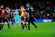AFC Bournemouth midfielder Matt Ritchie goes off injured to be replaced by AFC Bournemouth midfielder Juan Manuel Iturbe during the Barclays Premier League match between Bournemouth and West Ham United at the Goldsands Stadium, Bournemouth, England on 12 January 2016. Photo by Graham Hunt.