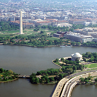 Aerial View of Washington DC, featuring The Washington Monument, Tidel Basin and Jefferson Memorial.