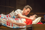 16/04/2013. Celebrating its twentieth anniversary year, and returning to the West End for limited 6 week season, the award winning Beautiful Thing comes to the Arts Theatre, London Featuring Suranne Jones, Zaraah Abrahams, Oliver Farnworth, Jake Davis and Danny-Boy Hatchard. Picture shows Jake Davies Jamie) and Danny-Boy Hatchard (Ste).