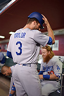 PHOENIX, AZ - AUGUST 31:  Chris Taylor #3 of the Los Angeles Dodgers prepares for this at bat against the Arizona Diamondbacks at Chase Field on August 31, 2017 in Phoenix, Arizona.  (Photo by Jennifer Stewart/Getty Images)