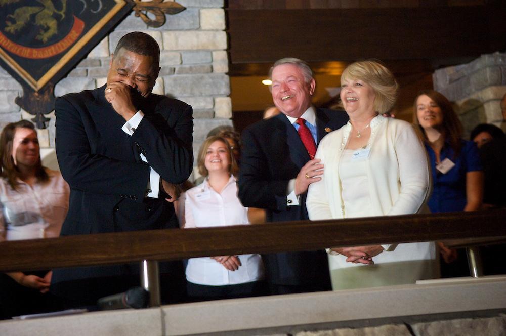 McDavis, Steven and Barbara Schoonover share a laugh