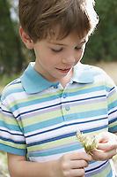 Boy (5-6) in striped t-shirt holding flower
