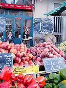 "Rennes, FRANCE.   Saturday Morning Market, ""Nectarines, Red and Green Peppers"",  on display  Brittany. Located.  Marché des Lices Town hall square. Rennes Old quarter, Brittany.<br /> <br /> Saturday  26/09/2009<br /> <br /> [Mandatory Credit;odd-Stock.com ]<br /> NIKON - COOLPIX P6000 - 1/65 - f2.9  8.4MB MB"