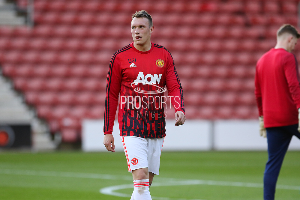 Manchester United Phil Jones in the warm up during the Barclays U21 Premier League match between U21 Southampton and U21 Manchester United at the St Mary's Stadium, Southampton, England on 25 April 2016. Photo by Phil Duncan.